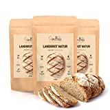 SlimBack - LOWER CARB LANDBROT Natur - 3er Pack - Brot Backmischung ohne Getreide für ca. 1,4kg...